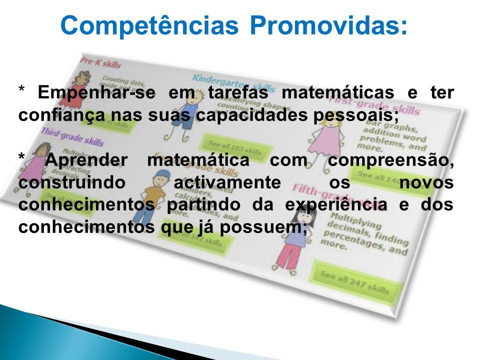 Competências Promovidas: * Empenhar-se em tarefas matemáticas e ter confiança nas suas capacidades pessoais; * Aprender matemática com compreensão, co