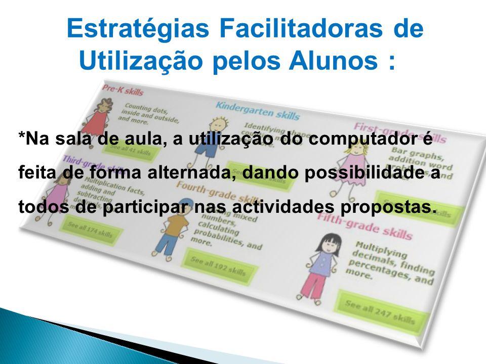 *Na sala de aula, a utilização do computador é feita de forma alternada, dando possibilidade a todos de participar nas actividades propostas. Estratég