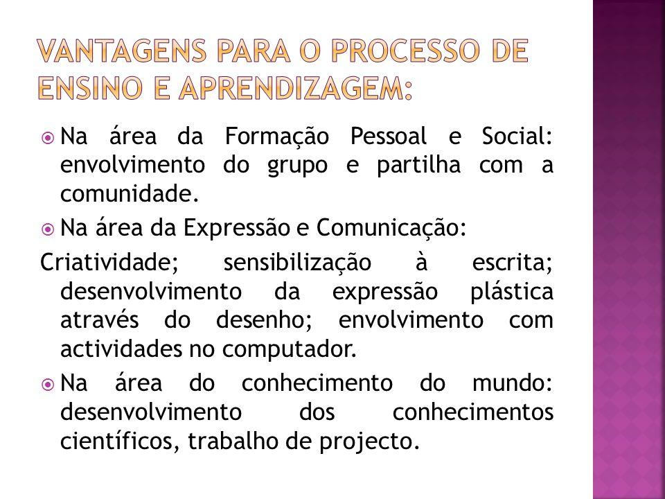  Na área da Formação Pessoal e Social: envolvimento do grupo e partilha com a comunidade.  Na área da Expressão e Comunicação: Criatividade; sensibi