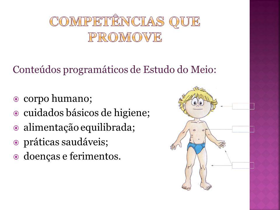 Conteúdos programáticos de Estudo do Meio:  corpo humano;  cuidados básicos de higiene;  alimentação equilibrada;  práticas saudáveis;  doenças e