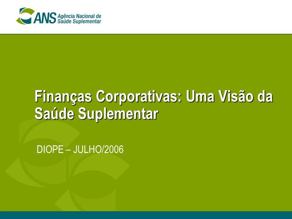 Finanças Corporativas: Uma Visão da Saúde Suplementar DIOPE – JULHO/2006
