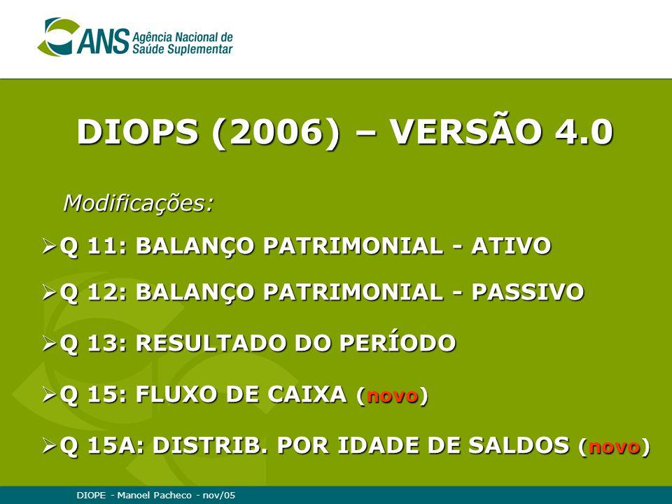 DIOPE - Manoel Pacheco - nov/05  Q 11: BALANÇO PATRIMONIAL - ATIVO  Q 12: BALANÇO PATRIMONIAL - PASSIVO  Q 13: RESULTADO DO PERÍODO  Q 15: FLUXO DE CAIXA (novo)  Q 15A: DISTRIB.