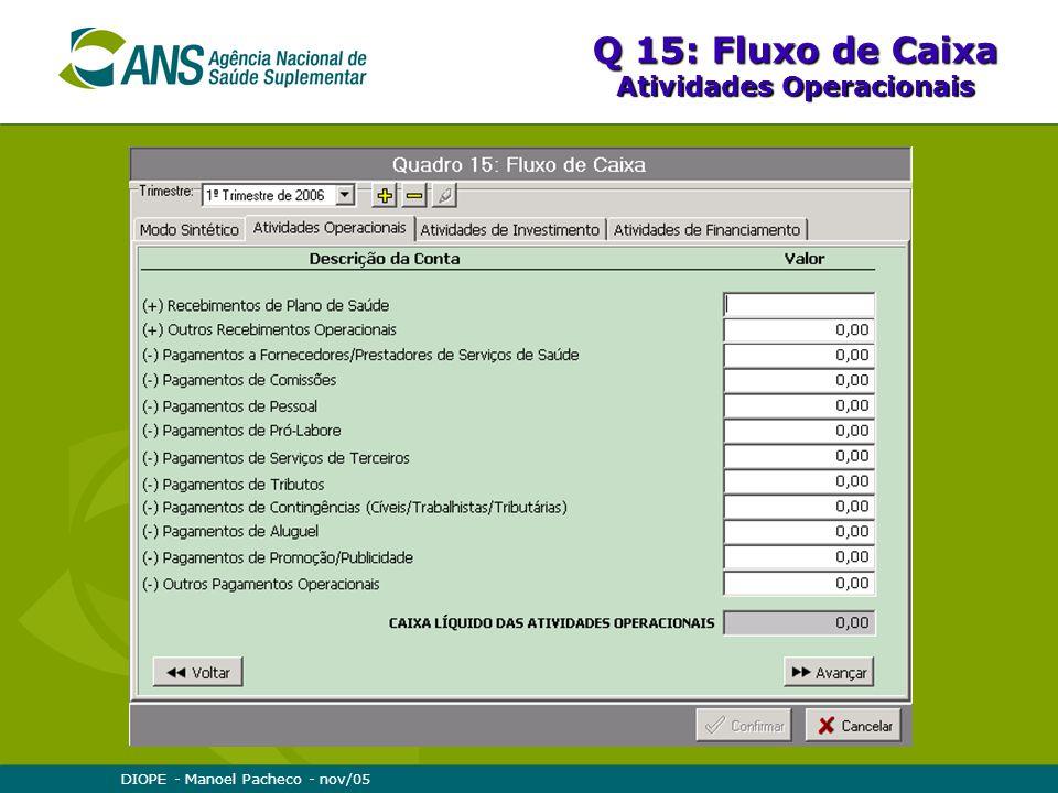 DIOPE - Manoel Pacheco - nov/05 Q 15: Fluxo de Caixa Atividades Operacionais