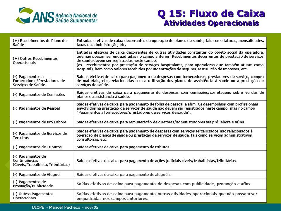 DIOPE - Manoel Pacheco - nov/05 Q 15: Fluxo de Caixa Atividades Operacionais (+) Recebimentos de Plano de Saúde Entradas efetivas de caixa decorrentes da operação de planos de saúde, tais como faturas, mensalidades, taxas de administração, etc.