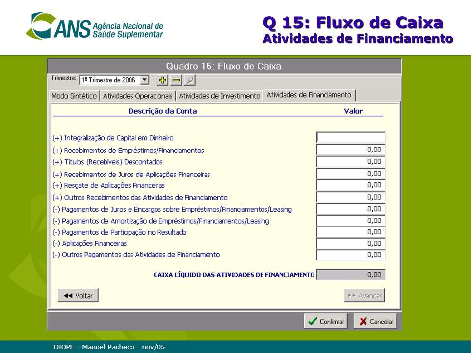 DIOPE - Manoel Pacheco - nov/05 Q 15: Fluxo de Caixa Atividades de Financiamento