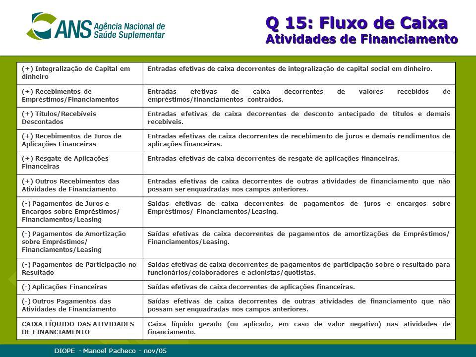DIOPE - Manoel Pacheco - nov/05 Q 15: Fluxo de Caixa Atividades de Financiamento (+) Integralização de Capital em dinheiro Entradas efetivas de caixa