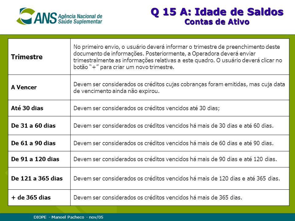 DIOPE - Manoel Pacheco - nov/05 Q 15 A: Idade de Saldos Contas de Ativo Trimestre No primeiro envio, o usuário deverá informar o trimestre de preenchimento deste documento de informações.