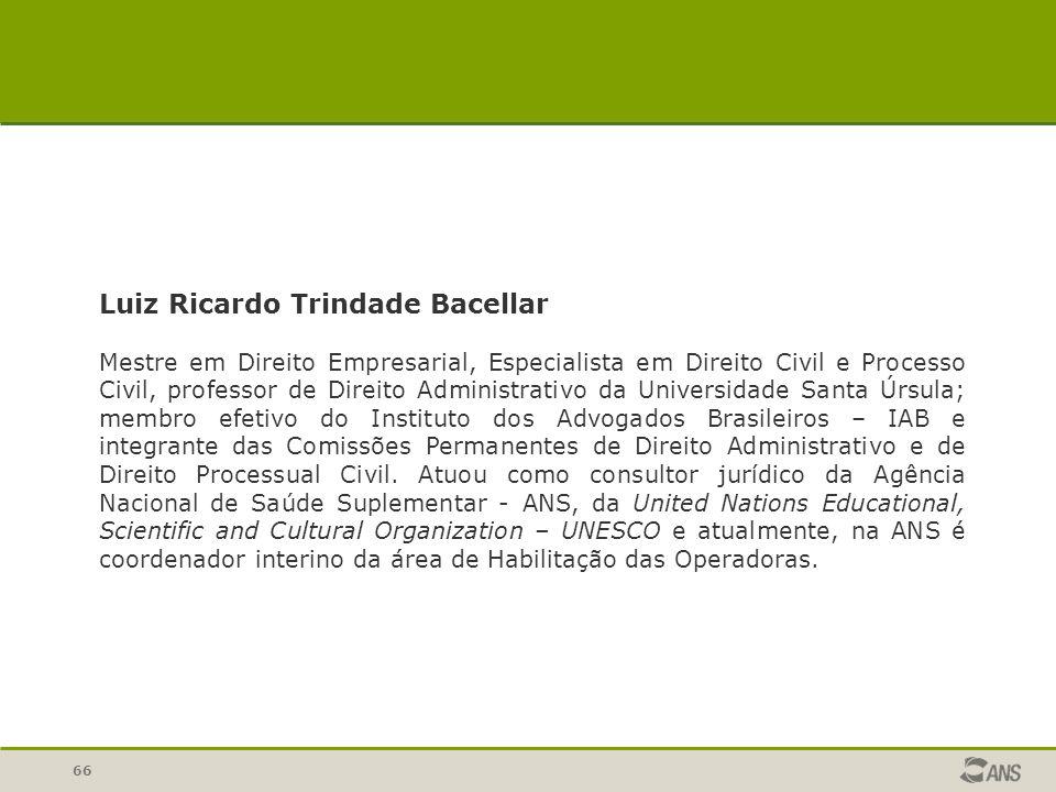 66 Luiz Ricardo Trindade Bacellar Mestre em Direito Empresarial, Especialista em Direito Civil e Processo Civil, professor de Direito Administrativo d