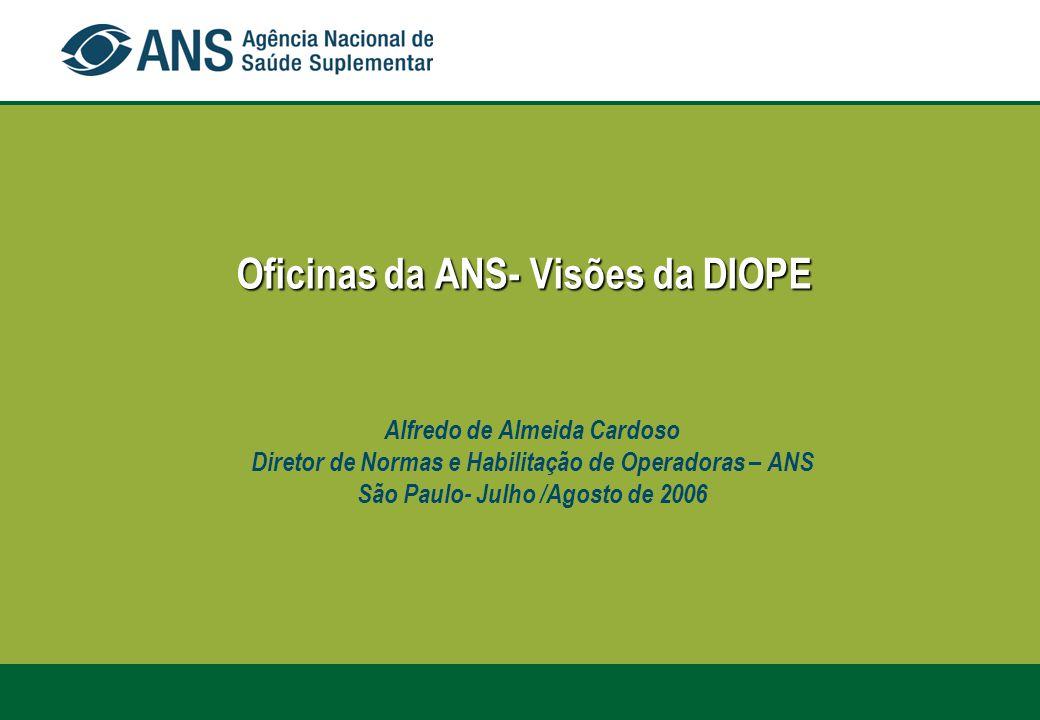 Oficinas da ANS- Visões da DIOPE Oficinas da ANS- Visões da DIOPE Alfredo de Almeida Cardoso Diretor de Normas e Habilitação de Operadoras – ANS São P