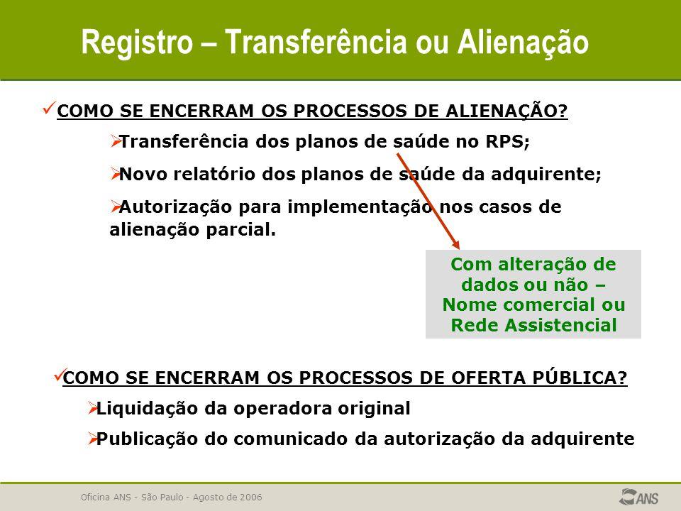 Oficina ANS - São Paulo - Agosto de 2006 Registro – Transferência ou Alienação COMO SE ENCERRAM OS PROCESSOS DE ALIENAÇÃO?  Transferência dos planos