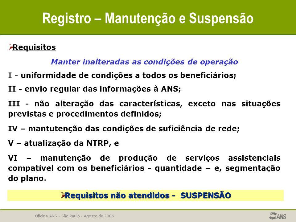 Oficina ANS - São Paulo - Agosto de 2006 Registro – Manutenção e Suspensão  Requisitos Manter inalteradas as condições de operação I - uniformidade d
