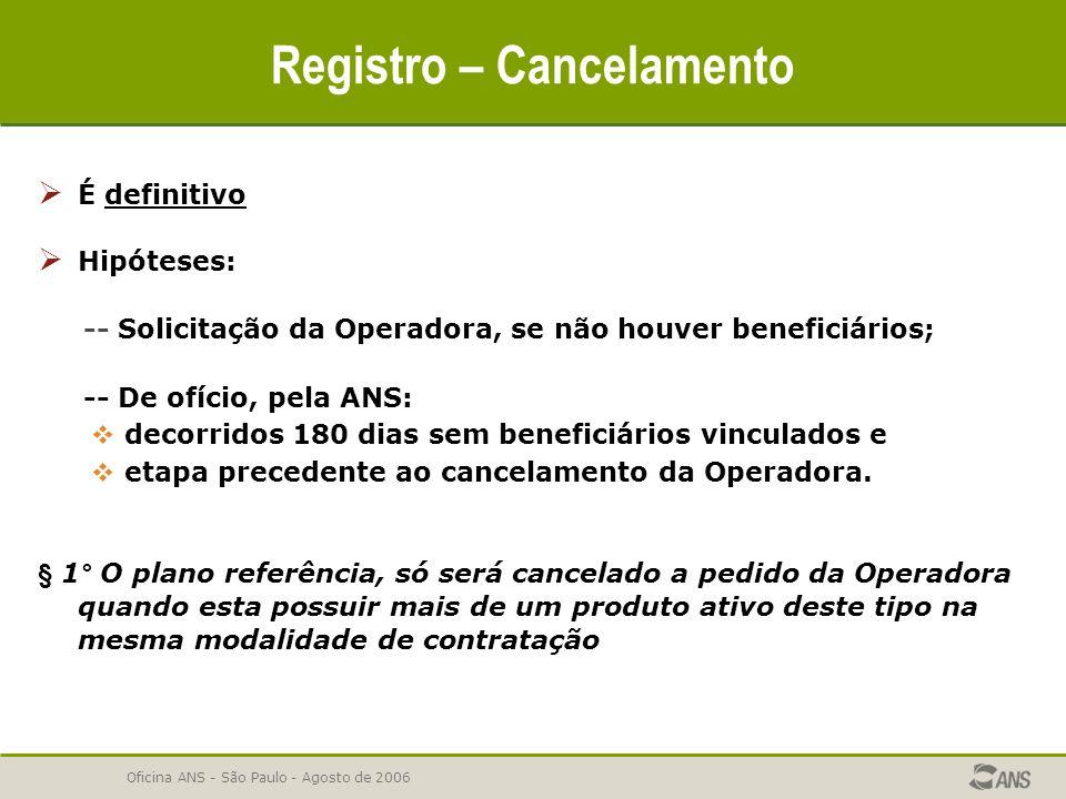 Oficina ANS - São Paulo - Agosto de 2006  É definitivo  Hipóteses: -- Solicitação da Operadora, se não houver beneficiários; -- De ofício, pela ANS: