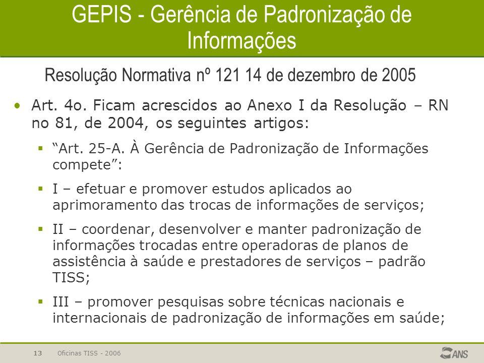 Oficinas TISS - 200612 Sistemas Públicos de Informação em Saúde Objetivos: coletar informações completas sobre a totalidade das internações ocorridas
