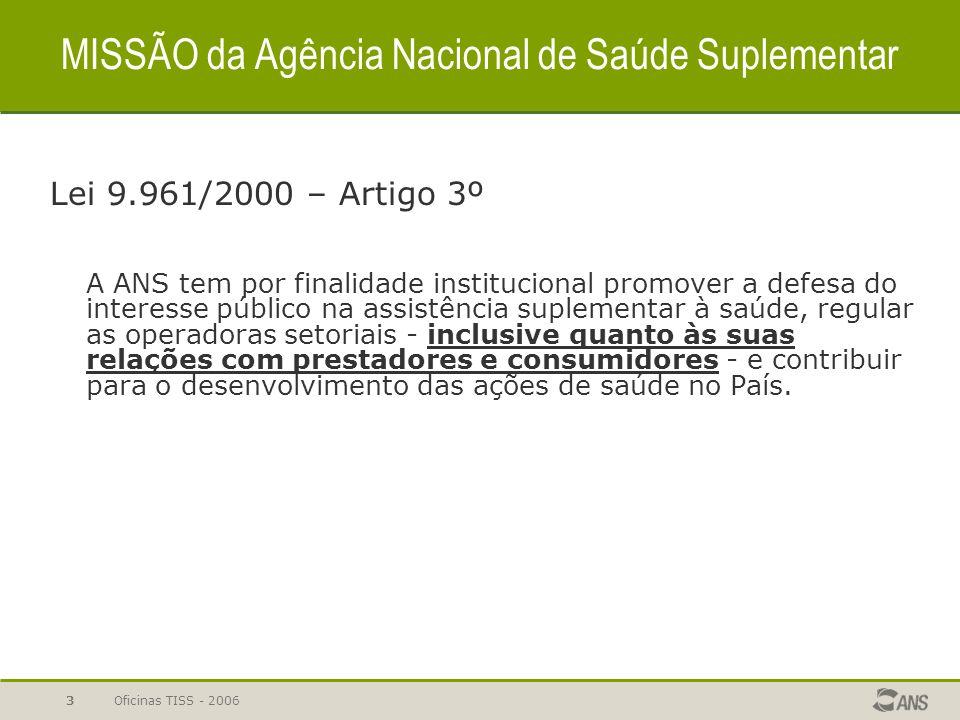 Oficinas TISS - 200613 GEPIS - Gerência de Padronização de Informações Art.