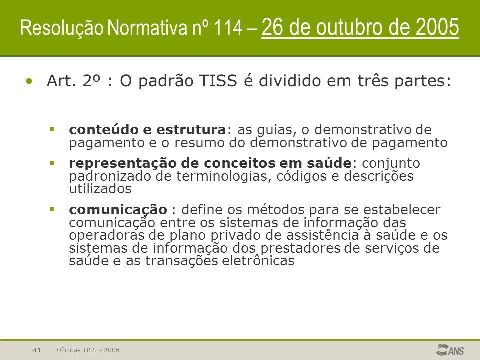 Oficinas TISS - 200640 Resolução Normativa nº 114 – 26 de outubro de 2005 O QUÊ?  padrão obrigatório para troca de informações em saúde suplementar (
