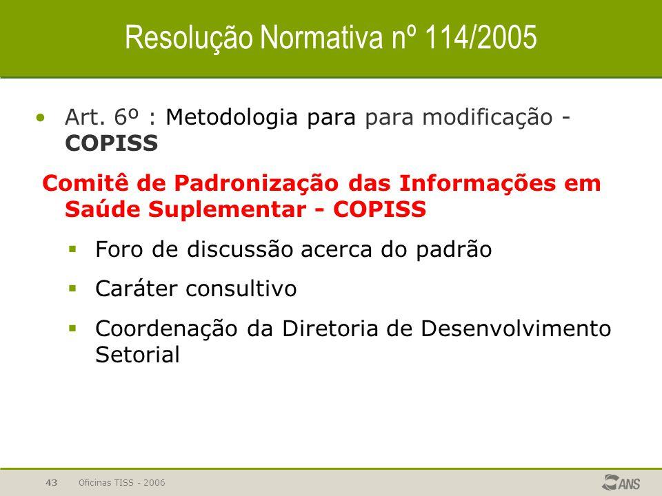 Oficinas TISS - 200642 Resolução Normativa nº 114/2005 Art. 5º : Cronograma  RN nº 127 de 12 de maio de 2006 Art. 1º - Os art. 5º da.. RN 114, de 26