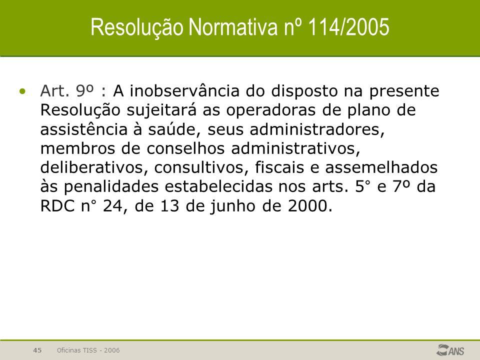 Oficinas TISS - 200644 Resolução Normativa nº 114/2005 Art. 6º : Metodologia para para modificação – COPISS IN/DIDES nº 20/2005 § 4º Ficam vedadas mod