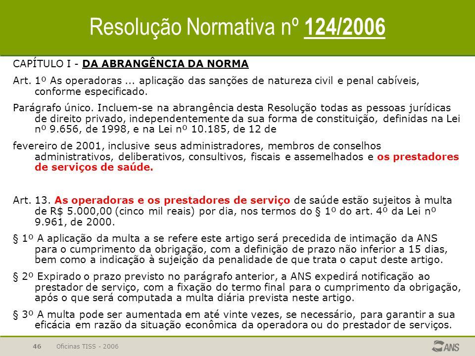Oficinas TISS - 200645 Resolução Normativa nº 114/2005 Art. 9º : A inobservância do disposto na presente Resolução sujeitará as operadoras de plano de