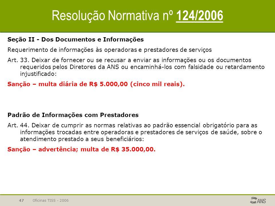 Oficinas TISS - 200646 Resolução Normativa nº 124/2006 CAPÍTULO I - DA ABRANGÊNCIA DA NORMA Art. 1º As operadoras... aplicação das sanções de natureza