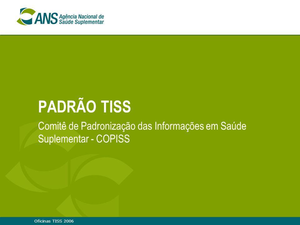 Oficinas TISS 200612 Grupos de Trabalho Grupo de trabalho coordenador  Reuniões em: — 02/05/2006: 2ª Reunião do COPISS - RJ »Presentes: Dra.