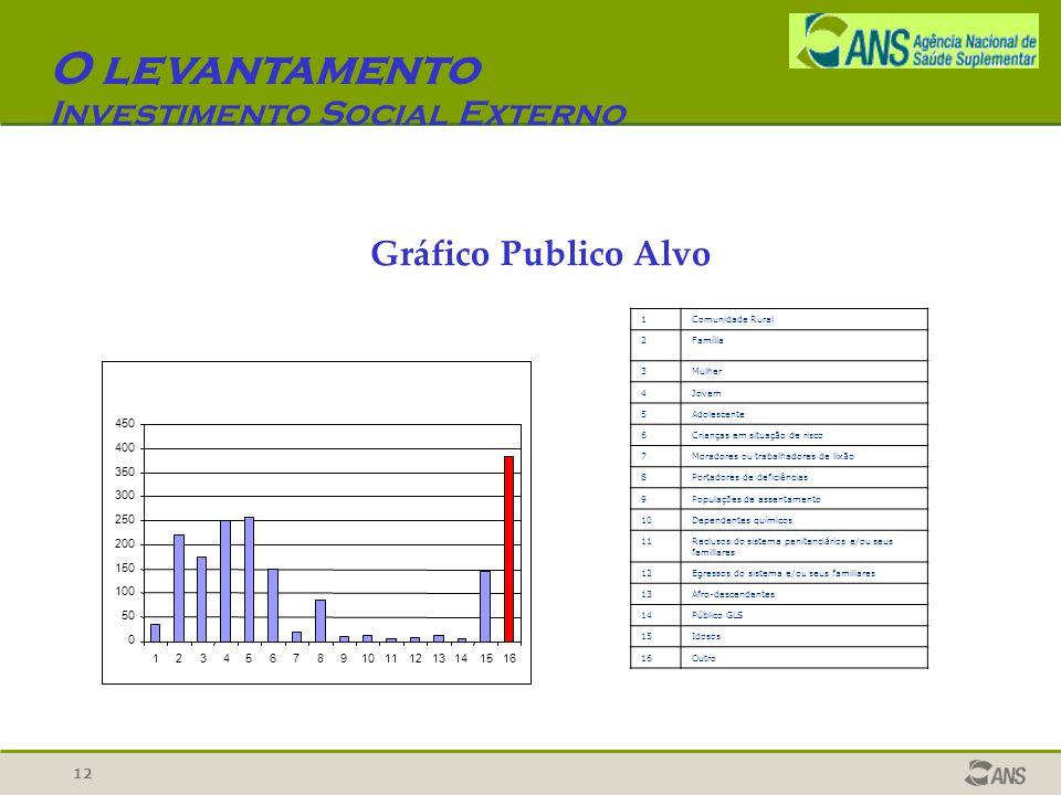 12 O levantamento Investimento Social Externo Gráfico Publico Alvo 0 50 100 150 200 250 300 350 400 450 12345678910111213141516 1Comunidade Rural 2Fam