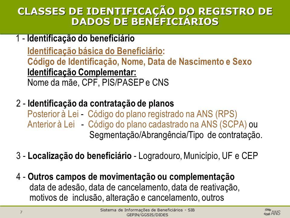 Sistema de Informações de Beneficiários - SIB GEPIN/GGSIS/DIDES 7 CLASSES DE IDENTIFICAÇÃO DO REGISTRO DE DADOS DE BENEFICIÁRIOS 1 - Identificação do beneficiário Identificação básica do Beneficiário: Código de Identificação, Nome, Data de Nascimento e Sexo Identificação Complementar: Nome da mãe, CPF, PIS/PASEP e CNS 2 - Identificação da contratação de planos Posterior à Lei - Código do plano registrado na ANS (RPS) Anterior à Lei - Código do plano cadastrado na ANS (SCPA) ou Segmentação/Abrangência/Tipo de contratação.