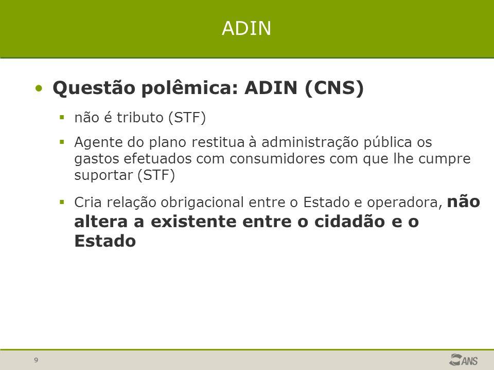 9 ADIN Questão polêmica: ADIN (CNS)  não é tributo (STF)  Agente do plano restitua à administração pública os gastos efetuados com consumidores com
