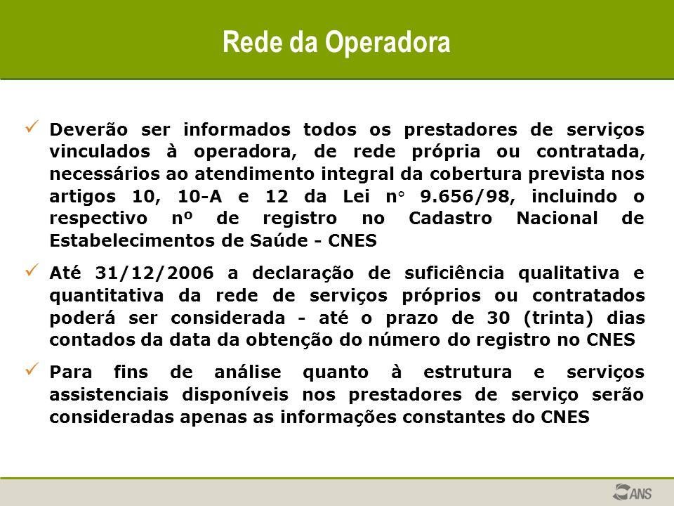 Rede da Operadora Deverão ser informados todos os prestadores de serviços vinculados à operadora, de rede própria ou contratada, necessários ao atendi