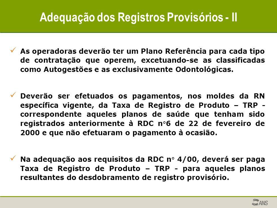 Adequação dos Registros Provisórios - II As operadoras deverão ter um Plano Referência para cada tipo de contratação que operem, excetuando-se as clas