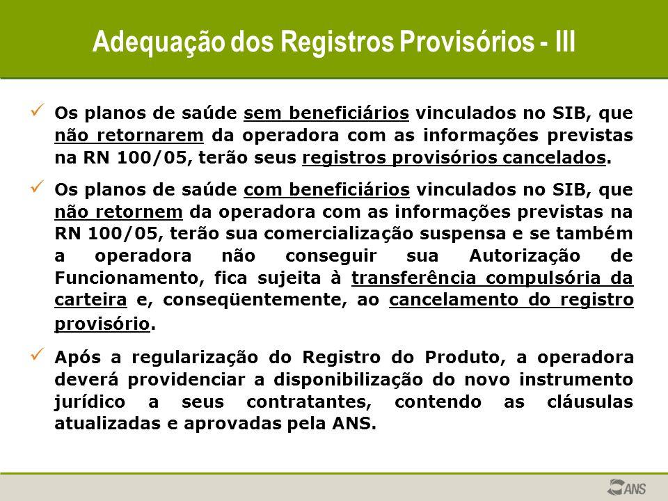 Adequação dos Registros Provisórios - III Os planos de saúde sem beneficiários vinculados no SIB, que não retornarem da operadora com as informações p