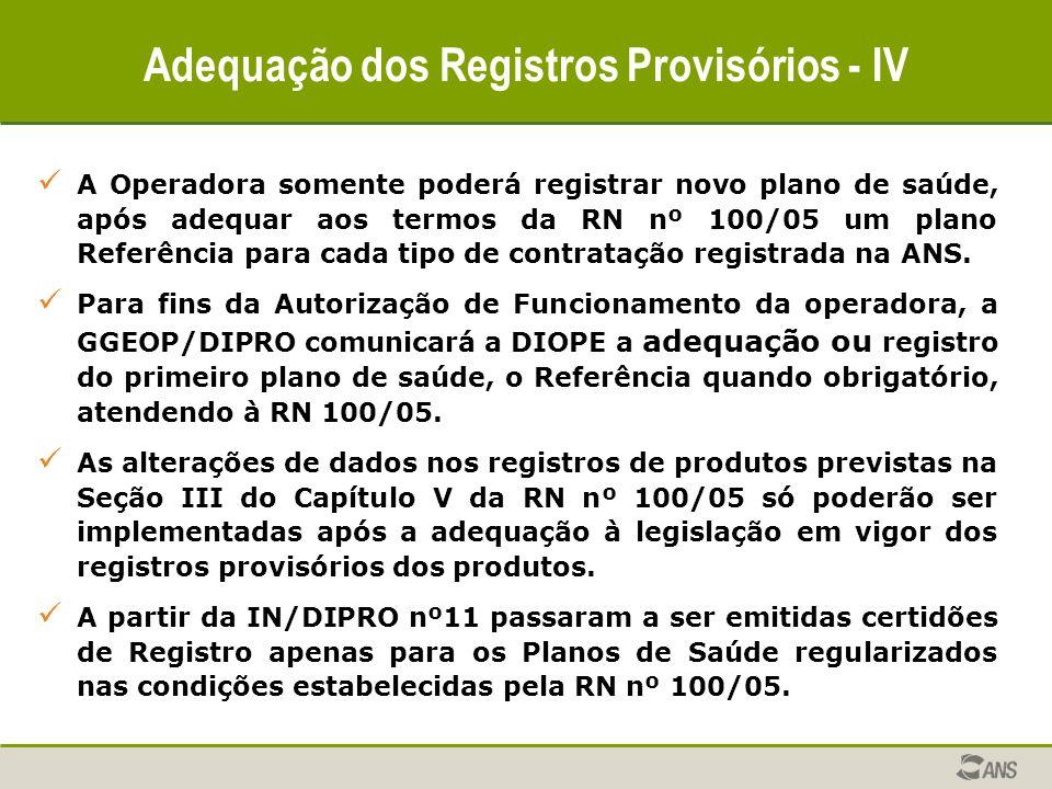 Adequação dos Registros Provisórios - IV A Operadora somente poderá registrar novo plano de saúde, após adequar aos termos da RN nº 100/05 um plano Re