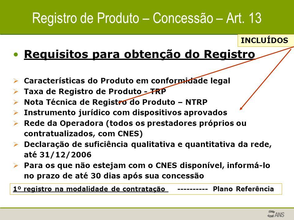 Registro de Produto – Concessão – Art. 13 Requisitos para obtenção do Registro  Características do Produto em conformidade legal  Taxa de Registro d