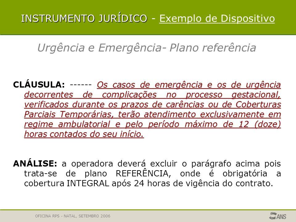 OFICINA RPS - NATAL, SETEMBRO 2006 INSTRUMENTO JURÍDICO Análise em duas etapas Primeira etapa denominada Instrumento Jurídico, a análise é apresentada considerando as características particulares do produto.