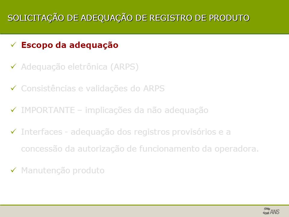 SISTEMAS INTERLIGADOS - ARPS ARPS CADOP NTRP CONTROLE DE TAXAS CNES LRPS-3 REGISTRO PROVISÓRIO SIBSIP Manutenção