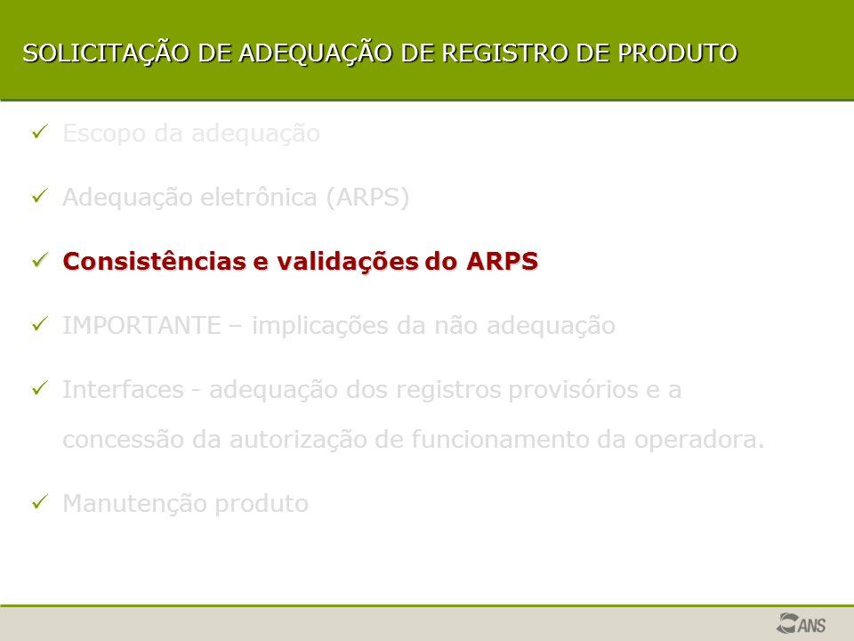 Adequação eletrônica (ARPS) Etapas a serem cumpridas pela operadora, após a instalação do aplicativo, para a adequação dos registros provisórios dos planos.