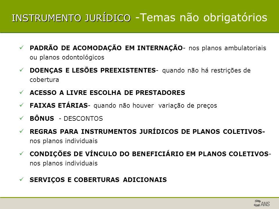 INSTRUMENTO JURÍDICO BÔNUS - DESCONTOS REGRAS PARA INSTRUMENTOS JURÍDICOS DE PLANOS COLETIVOS CONDIÇÕES DE VÍNCULO DO BENEFICIÁRIO EM PLANOS COLETIVOS CONDIÇÕES DA PERDA DA QUALIDADE DE BENEFICIÁRIO RESCISÃO/SUSPENSÃO SERVIÇOS E COBERTURAS ADICIONAIS DISPOSIÇÕES GERAIS ELEIÇÃO DE FORO