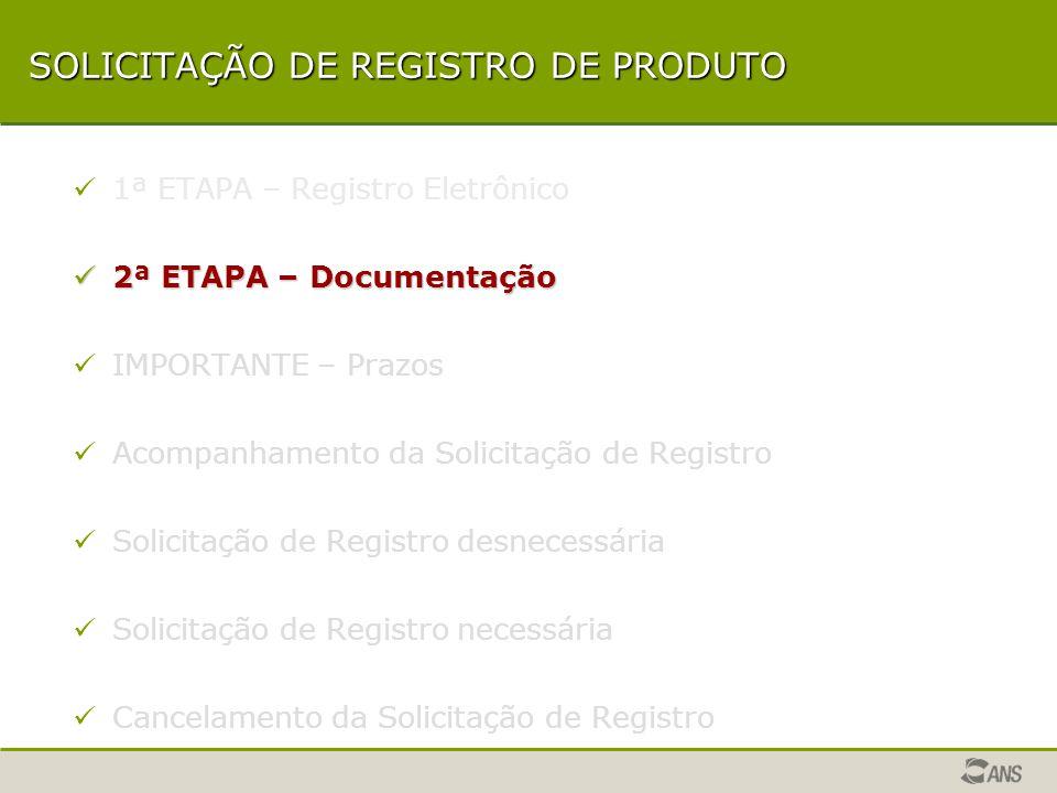 SOLICITAÇÃO DE REGISTRO DE PRODUTO 1ª ETAPA – Registro Eletrônico 2ª ETAPA – Documentação 2ª ETAPA – Documentação IMPORTANTE – Prazos Acompanhamento da Solicitação de Registro Solicitação de Registro desnecessária Solicitação de Registro necessária Cancelamento da Solicitação de Registro