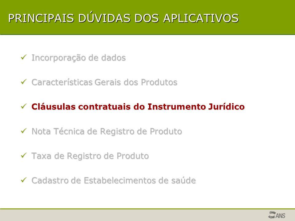 CARACTERÍSTICAS GERAIS DOS PRODUTOS Solicitação de alteração de características via aplicativo ARPS.