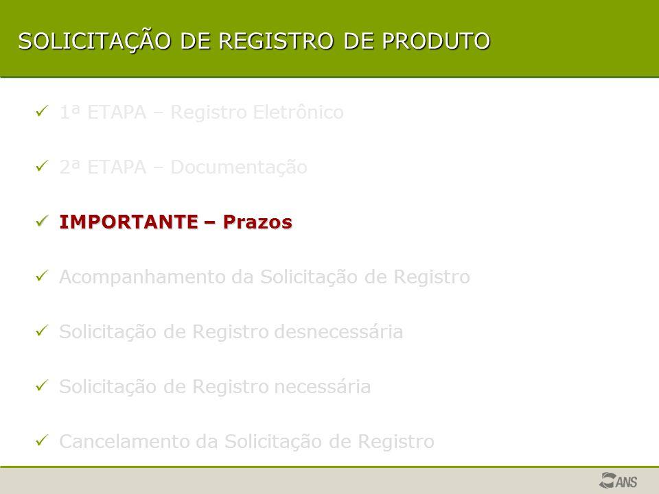 SOLICITAÇÃO DE REGISTRO DE PRODUTO 1ª ETAPA – Registro Eletrônico 2ª ETAPA – Documentação IMPORTANTE – Prazos IMPORTANTE – Prazos Acompanhamento da Solicitação de Registro Solicitação de Registro desnecessária Solicitação de Registro necessária Cancelamento da Solicitação de Registro