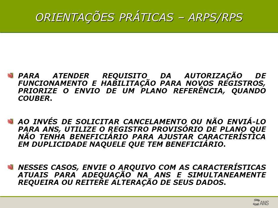 AÇÕES DA ANS REUNIÕES DE TRABALHO ORGANIZADAS PELAS ENTIDADES REPRESENTATIVAS DAS OPERADORAS ATUALIZAÇÃO DAS VERSÕES DOS APLICATIVOS A PARTIR DAS OBSERVAÇÕES DAS OPERADORAS CONSOLIDAÇÃO NA PÁGINA ANS DAS RESPOSTAS PARA AS PRINCIPAIS DÚVIDAS APRESENTADAS DISPONIBILIDADE PARA DISCUSSÃO PRELIMINAR DAS ORIENTAÇÕES PARA INSTRUMENTOS JURÍDICOS COM AS ENTIDADES REPRESENTATIVAS OU DIRETAMENTE COM AS OPERADORAS QUE JÁ ENVIARAM ARQUIVOS MENSAGEM ELETRÔNICA À TODAS OPERADORAS EM AGÔSTO/2005, ALERTANDO QUE O REGISTRO DE PRODUTO PARA AUTORIZAÇÃO DE FUNCIONAMENTO DEVE SER FEITO PELOS APLICATIVOS ARPS, RPS OU SCPA OFÍCIO CIRCULAR 2/DIPRO- ALERTANDO SOBRE SIB DE JULHO, CANCELAMENTO DE PRODUTOS E SUSPENSÃO DE COMERCIALIZAÇÃO