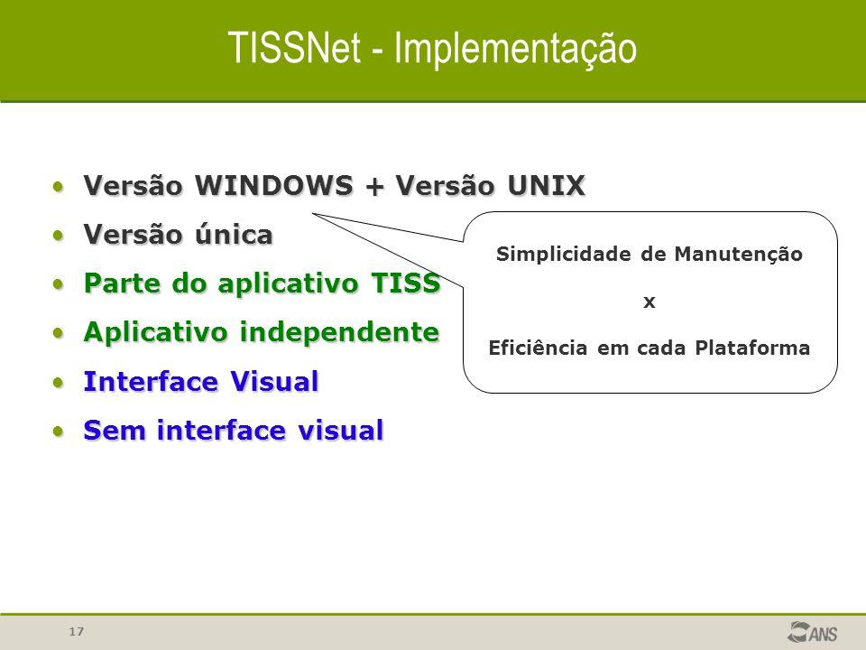 17 TISSNet - Implementação Versão WINDOWS + Versão UNIXVersão WINDOWS + Versão UNIX Versão únicaVersão única Parte do aplicativo TISSParte do aplicati