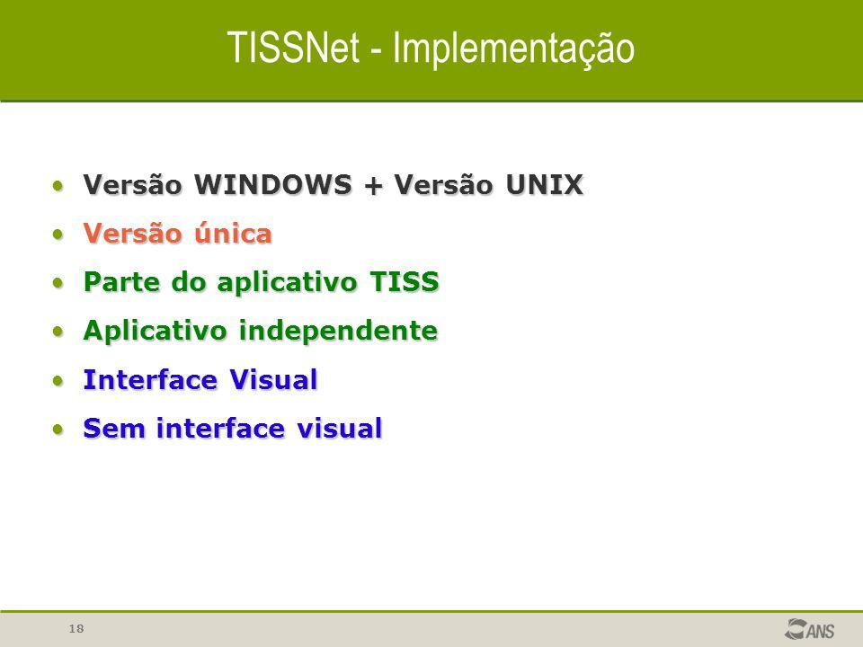 18 TISSNet - Implementação Versão WINDOWS + Versão UNIXVersão WINDOWS + Versão UNIX Versão únicaVersão única Parte do aplicativo TISSParte do aplicati