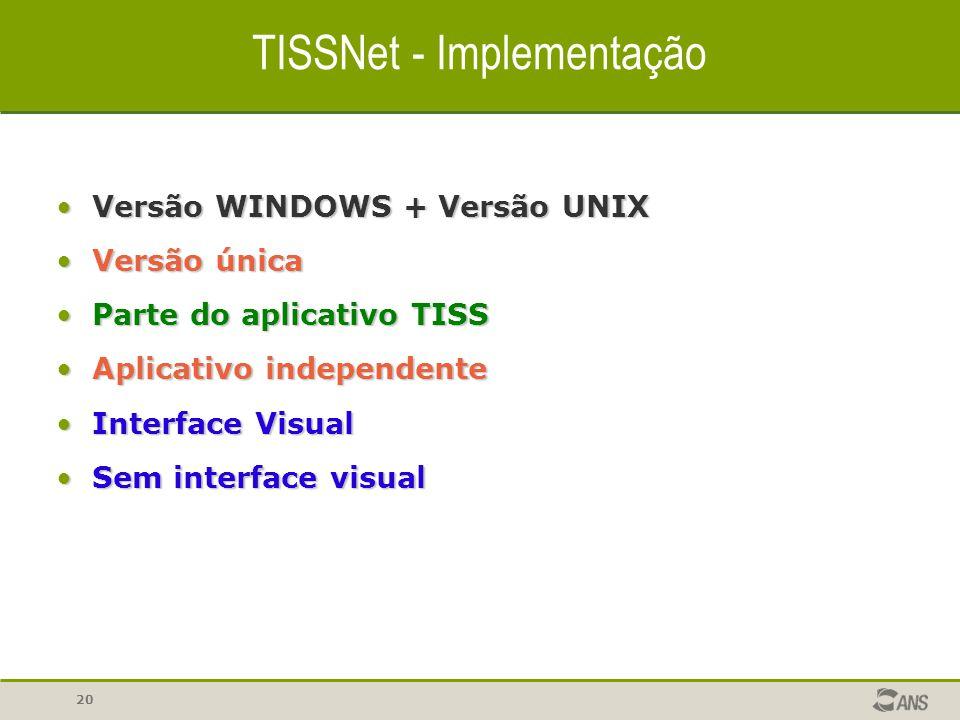 20 TISSNet - Implementação Versão WINDOWS + Versão UNIXVersão WINDOWS + Versão UNIX Versão únicaVersão única Parte do aplicativo TISSParte do aplicati
