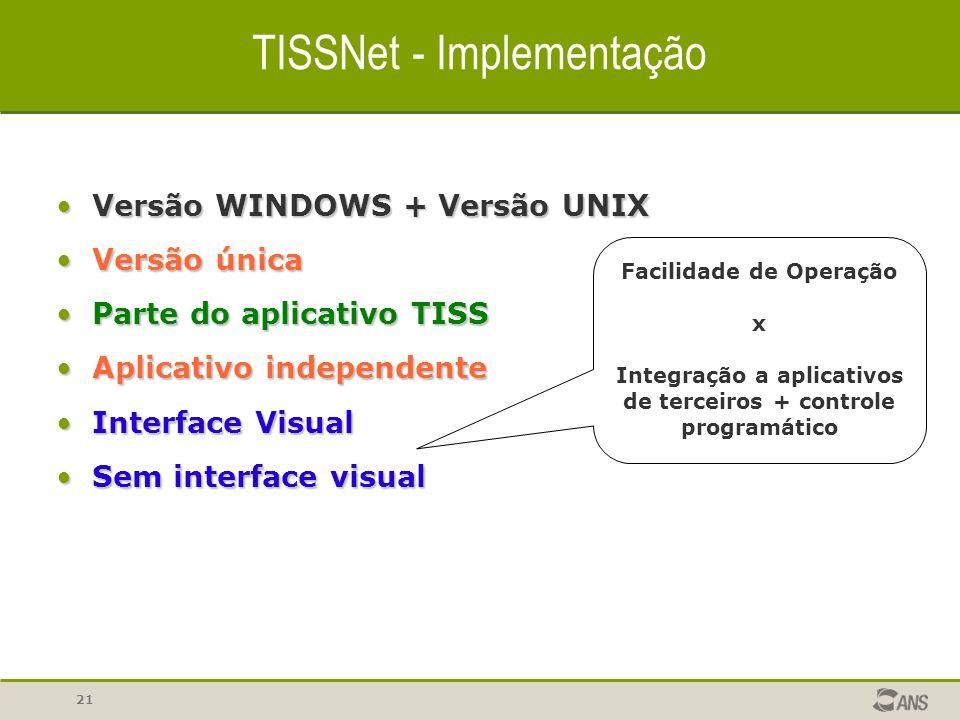 21 TISSNet - Implementação Versão WINDOWS + Versão UNIXVersão WINDOWS + Versão UNIX Versão únicaVersão única Parte do aplicativo TISSParte do aplicati
