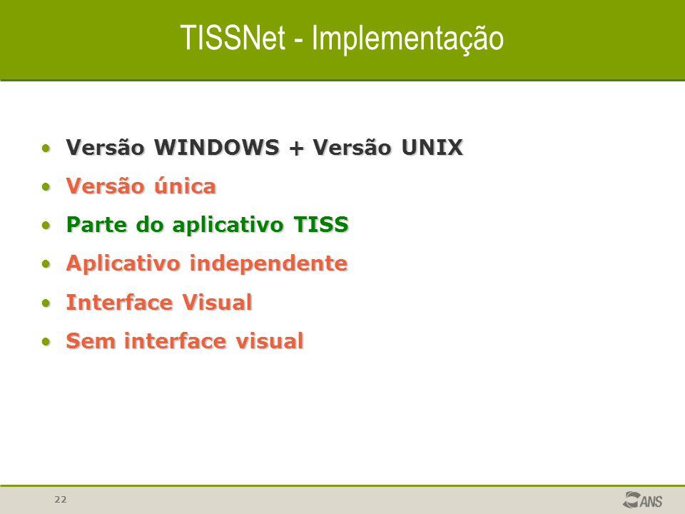 22 TISSNet - Implementação Versão WINDOWS + Versão UNIXVersão WINDOWS + Versão UNIX Versão únicaVersão única Parte do aplicativo TISSParte do aplicati