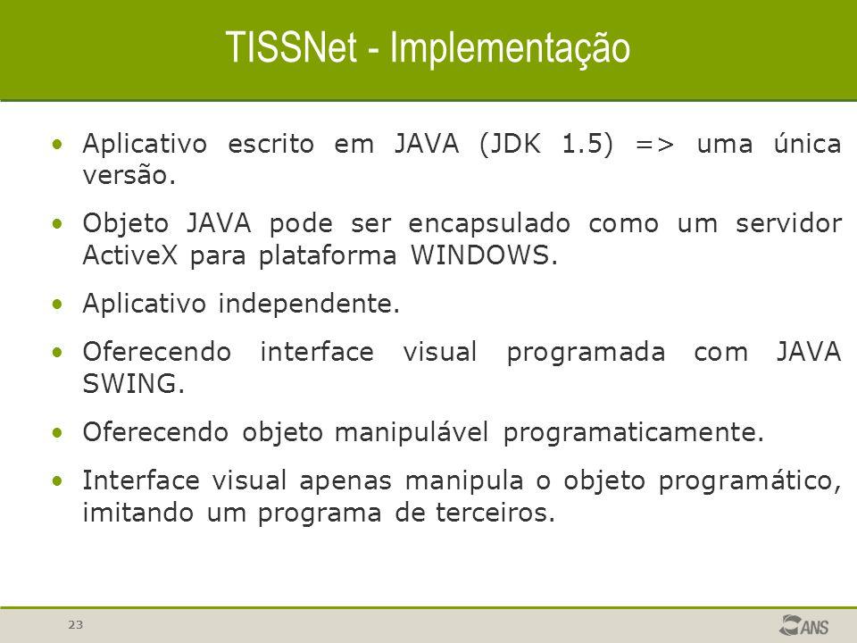 23 TISSNet - Implementação Aplicativo escrito em JAVA (JDK 1.5) => uma única versão. Objeto JAVA pode ser encapsulado como um servidor ActiveX para pl