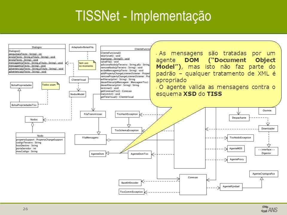 """26 TISSNet - Implementação As mensagens são tratadas por um agente DOM (""""Document Object Model""""), mas isto não faz parte do padrão – qualquer tratamen"""