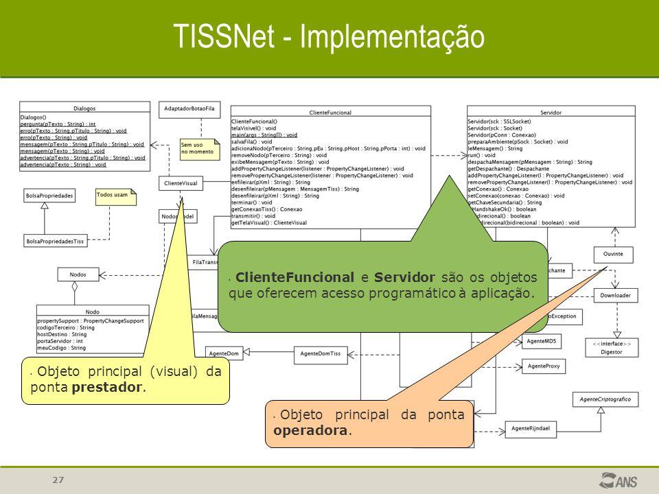 27 TISSNet - Implementação ClienteFuncional e Servidor são os objetos que oferecem acesso programático à aplicação. Objeto principal (visual) da ponta