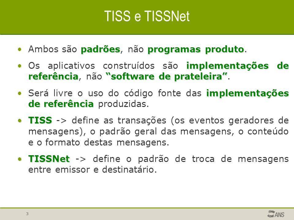 """3 TISS e TISSNet padrõesprogramas produtoAmbos são padrões, não programas produto. implementações de referência""""software de prateleira""""Os aplicativos"""