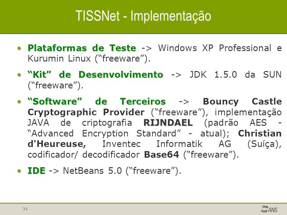 "31 TISSNet - Implementação Plataformas de TestePlataformas de Teste -> Windows XP Professional e Kurumin Linux (""freeware""). ""Kit"" de Desenvolvimento"""